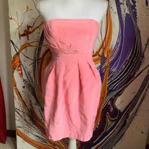 Shoshanna strapless dress with pockets in pink